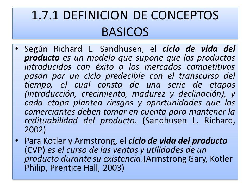 1.7.1 DEFINICION DE CONCEPTOS BASICOS Según Richard L. Sandhusen, el ciclo de vida del producto es un modelo que supone que los productos introducidos