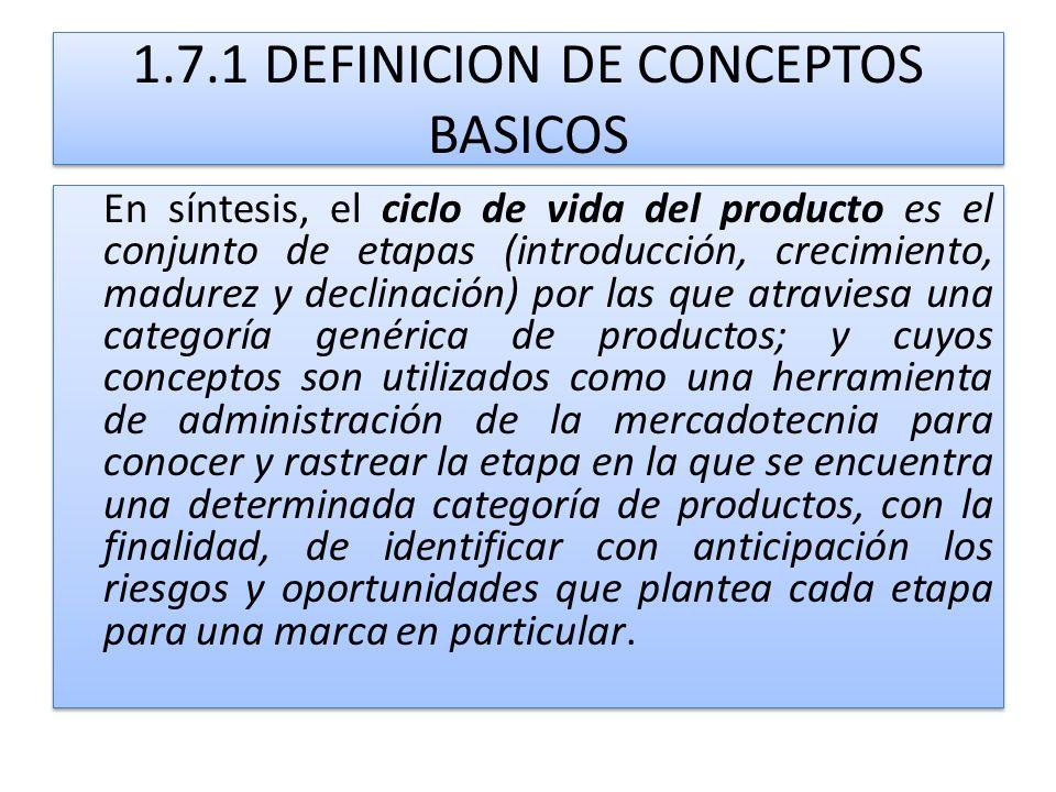 1.7.1 DEFINICION DE CONCEPTOS BASICOS En síntesis, el ciclo de vida del producto es el conjunto de etapas (introducción, crecimiento, madurez y declin