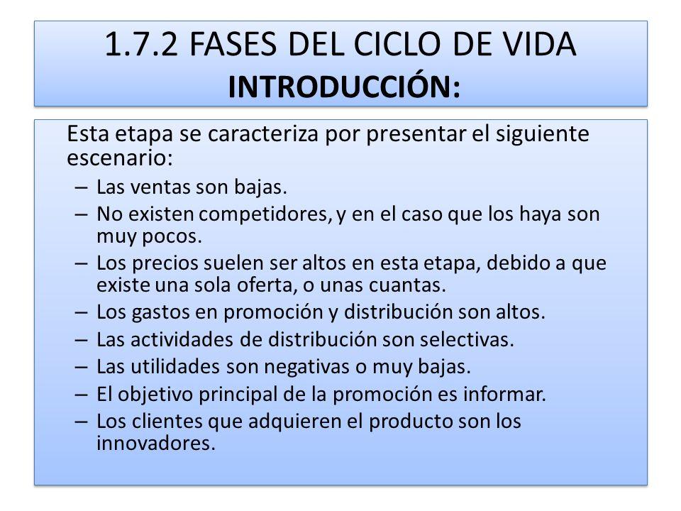 1.7.2 FASES DEL CICLO DE VIDA INTRODUCCIÓN: Esta etapa se caracteriza por presentar el siguiente escenario: – Las ventas son bajas. – No existen compe
