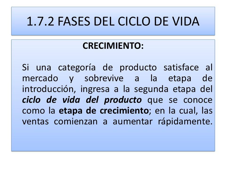 1.7.2 FASES DEL CICLO DE VIDA CRECIMIENTO: Si una categoría de producto satisface al mercado y sobrevive a la etapa de introducción, ingresa a la segu