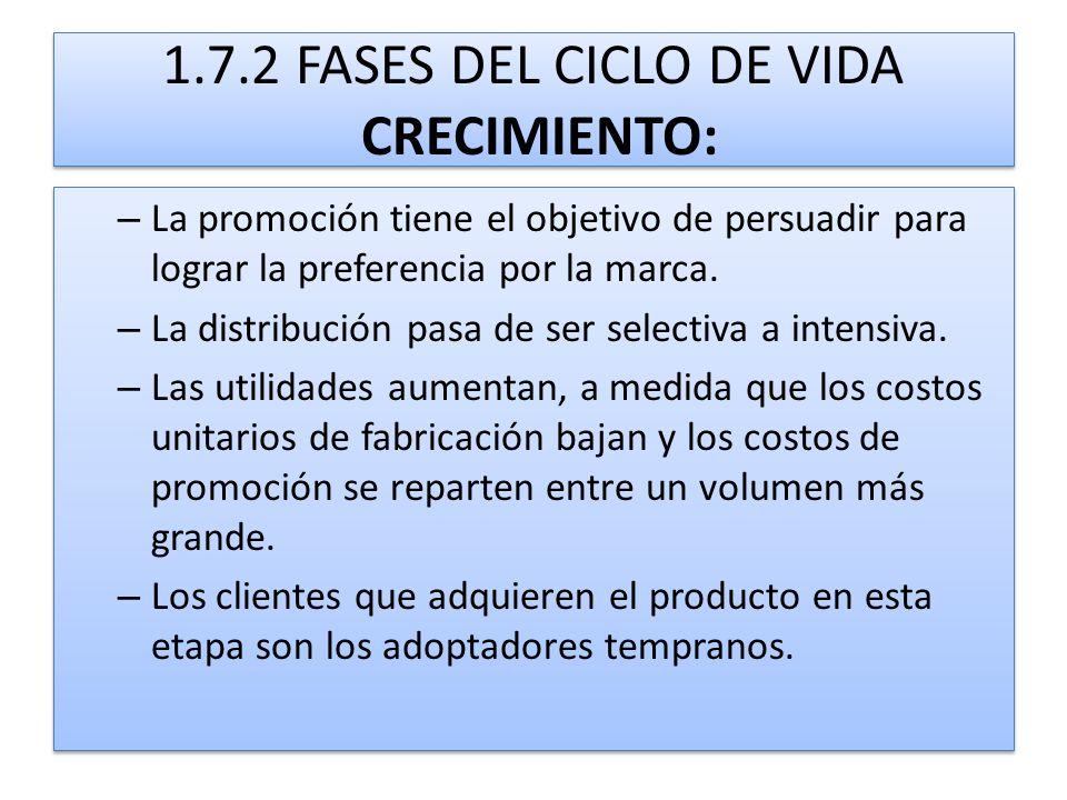 1.7.2 FASES DEL CICLO DE VIDA CRECIMIENTO: – La promoción tiene el objetivo de persuadir para lograr la preferencia por la marca. – La distribución pa