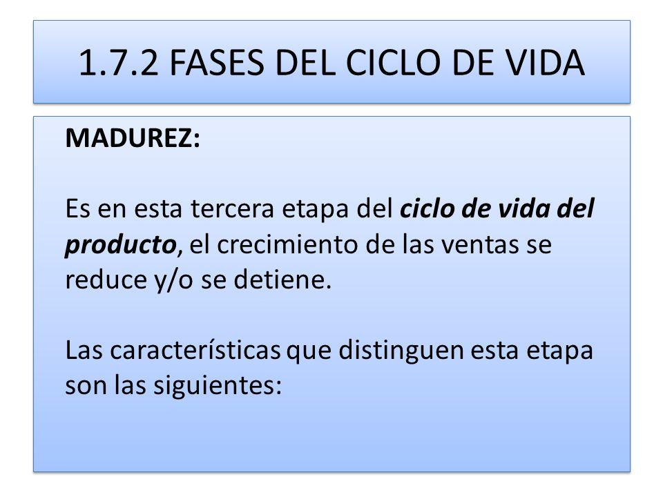 1.7.2 FASES DEL CICLO DE VIDA MADUREZ: Es en esta tercera etapa del ciclo de vida del producto, el crecimiento de las ventas se reduce y/o se detiene.