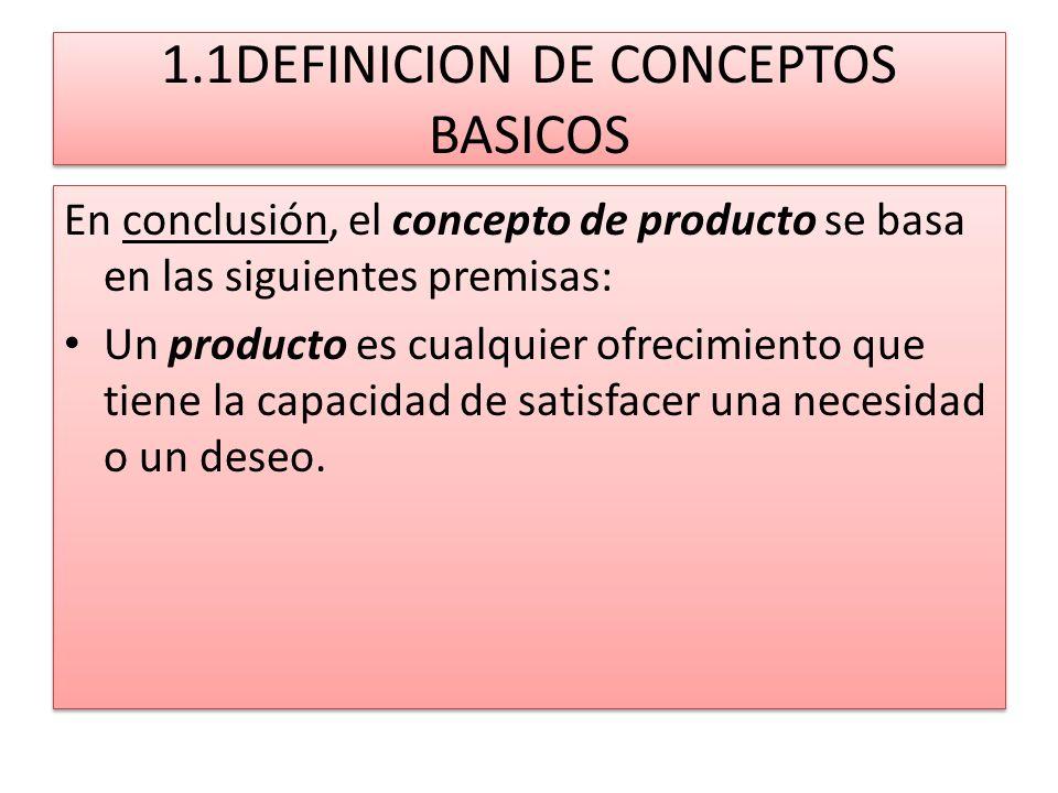 1.1DEFINICION DE CONCEPTOS BASICOS En conclusión, el concepto de producto se basa en las siguientes premisas: Un producto es cualquier ofrecimiento qu