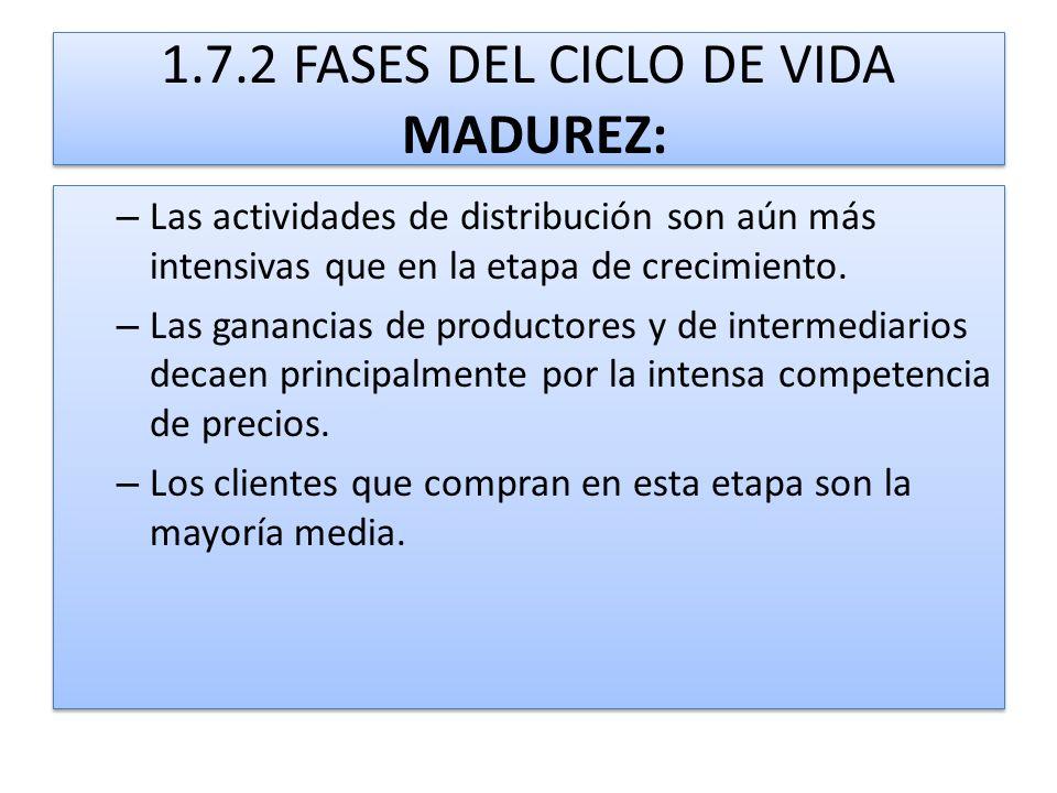 1.7.2 FASES DEL CICLO DE VIDA MADUREZ: – Las actividades de distribución son aún más intensivas que en la etapa de crecimiento. – Las ganancias de pro