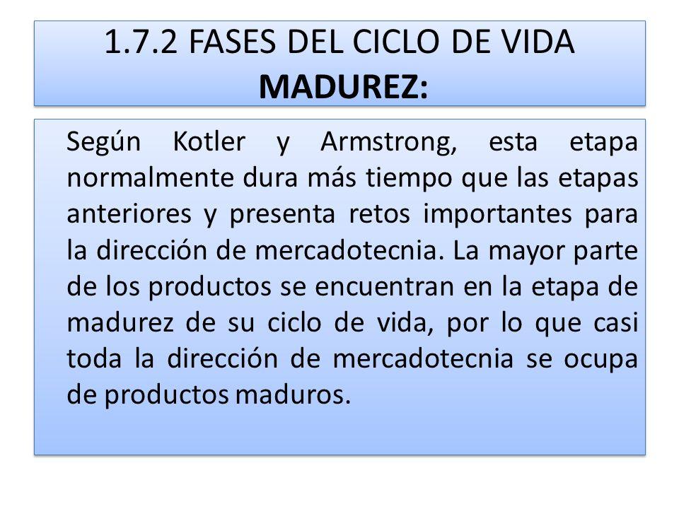 1.7.2 FASES DEL CICLO DE VIDA MADUREZ: Según Kotler y Armstrong, esta etapa normalmente dura más tiempo que las etapas anteriores y presenta retos imp