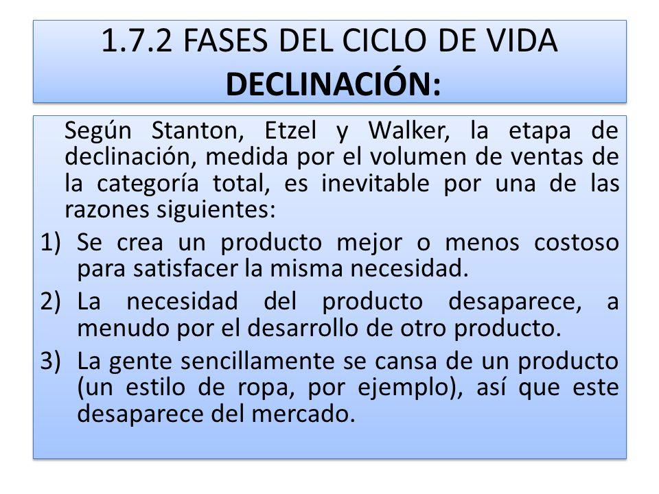 1.7.2 FASES DEL CICLO DE VIDA DECLINACIÓN: Según Stanton, Etzel y Walker, la etapa de declinación, medida por el volumen de ventas de la categoría tot