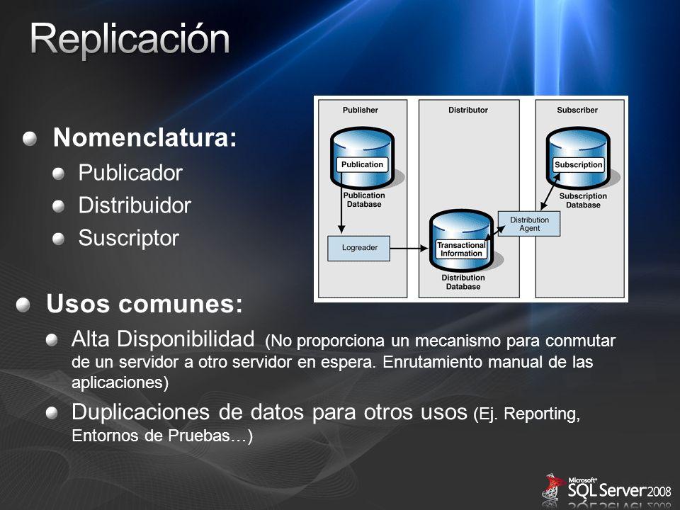Usos comunes: Alta Disponibilidad (No proporciona un mecanismo para conmutar de un servidor a otro servidor en espera. Enrutamiento manual de las apli