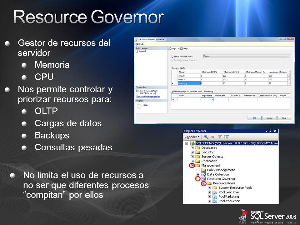 Gestor de recursos del servidor Memoria CPU Nos permite controlar y priorizar recursos para: OLTP Cargas de datos Backups Consultas pesadas No limita