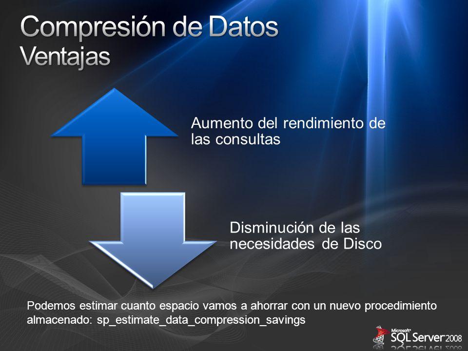 Aumento del rendimiento de las consultas Disminución de las necesidades de Disco Podemos estimar cuanto espacio vamos a ahorrar con un nuevo procedimi