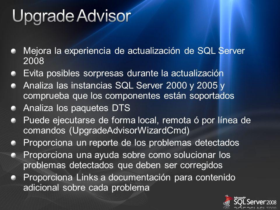 Mejora la experiencia de actualización de SQL Server 2008 Evita posibles sorpresas durante la actualización Analiza las instancias SQL Server 2000 y 2