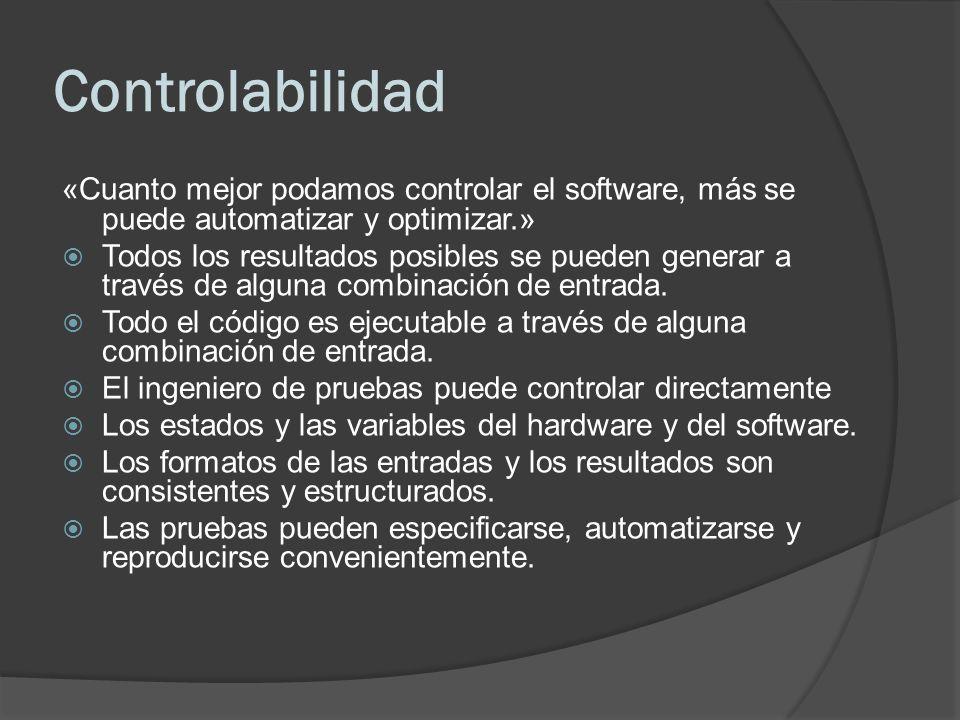 Controlabilidad «Cuanto mejor podamos controlar el software, más se puede automatizar y optimizar.» Todos los resultados posibles se pueden generar a