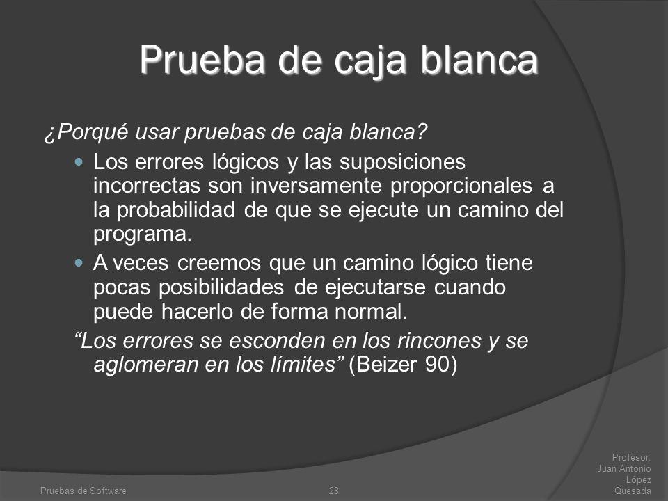 Pruebas de Software28 Profesor: Juan Antonio López Quesada Prueba de caja blanca ¿Porqué usar pruebas de caja blanca? Los errores lógicos y las suposi