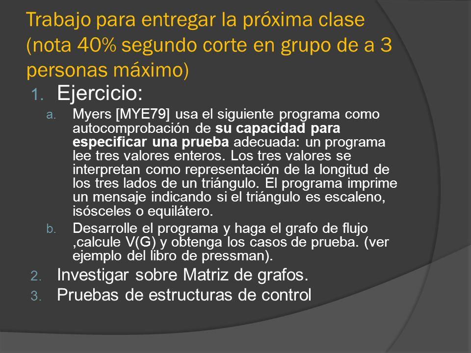 Trabajo para entregar la próxima clase (nota 40% segundo corte en grupo de a 3 personas máximo) 1. Ejercicio: a. Myers [MYE79] usa el siguiente progra