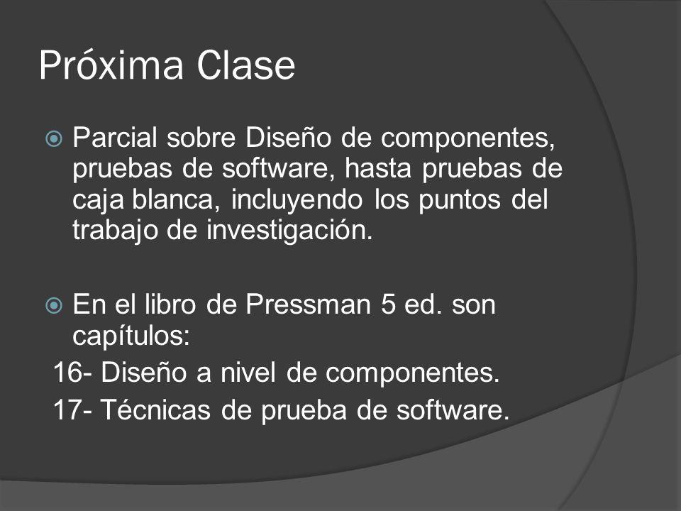 Próxima Clase Parcial sobre Diseño de componentes, pruebas de software, hasta pruebas de caja blanca, incluyendo los puntos del trabajo de investigaci