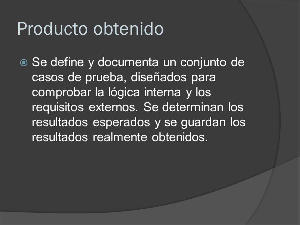 Producto obtenido Se define y documenta un conjunto de casos de prueba, diseñados para comprobar la lógica interna y los requisitos externos. Se deter