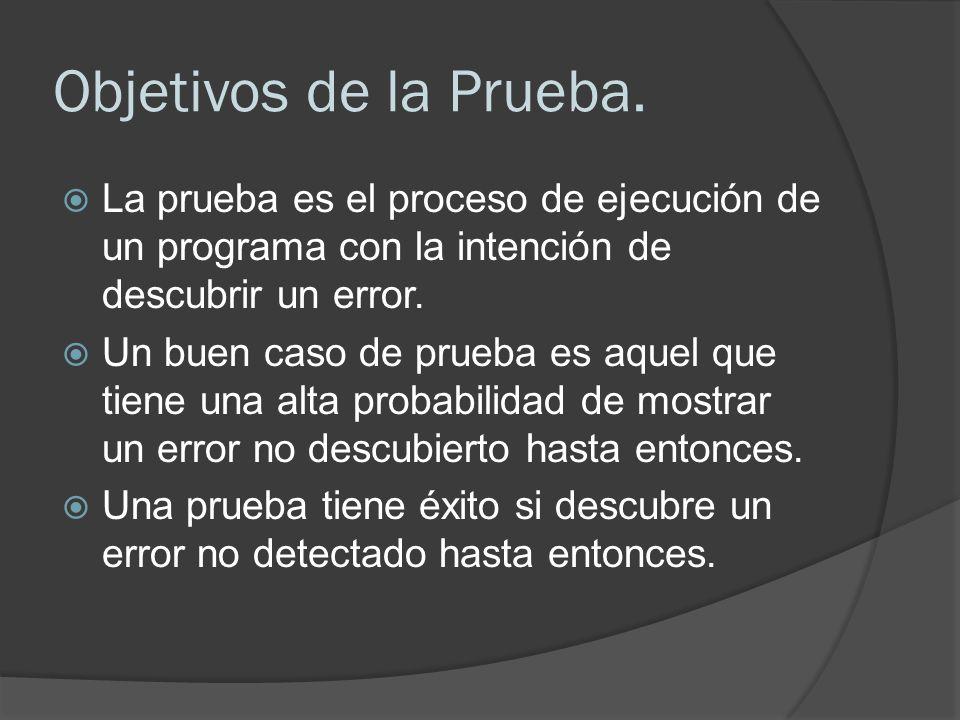 Objetivos de la Prueba. La prueba es el proceso de ejecución de un programa con la intención de descubrir un error. Un buen caso de prueba es aquel qu