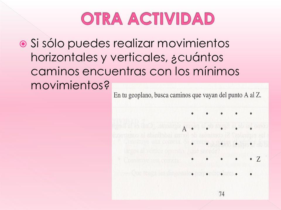 Si sólo puedes realizar movimientos horizontales y verticales, ¿cuántos caminos encuentras con los mínimos movimientos?