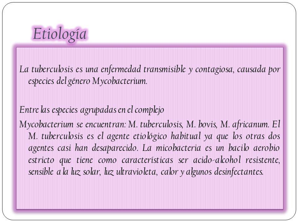 La tuberculosis es una enfermedad transmisible y contagiosa, causada por especies del género Mycobacterium. Entre las especies agrupadas en el complej