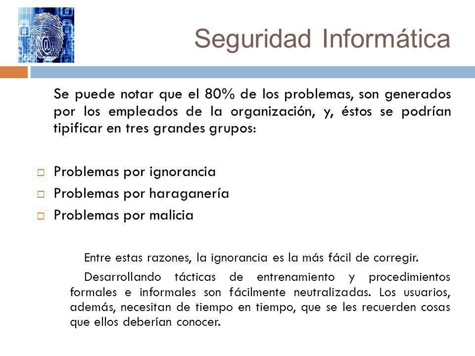 Seguridad Informática Se puede notar que el 80% de los problemas, son generados por los empleados de la organización, y, éstos se podrían tipificar en