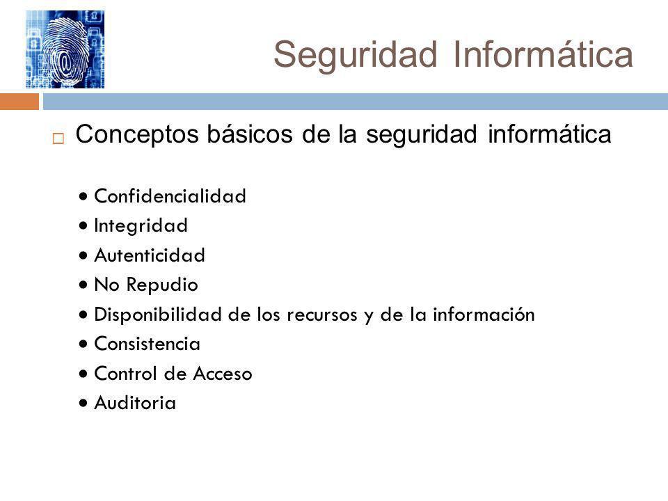 Seguridad Informática Conceptos básicos de la seguridad informática Confidencialidad Integridad Autenticidad No Repudio Disponibilidad de los recursos