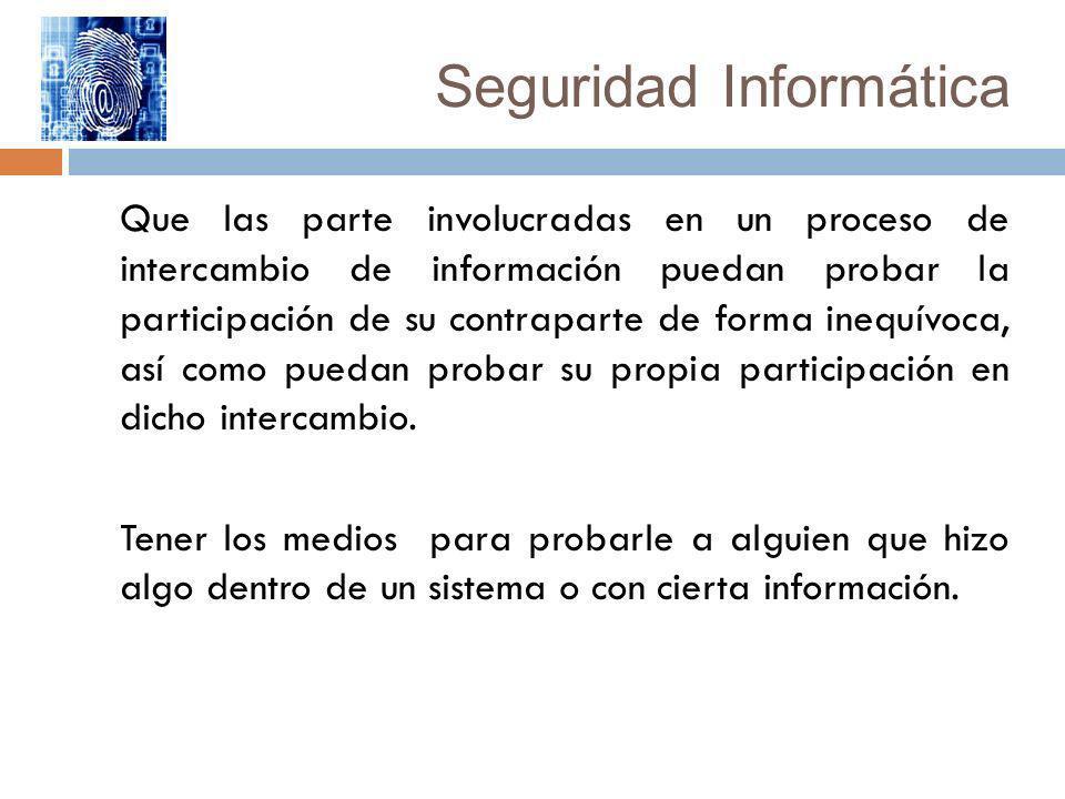 Seguridad Informática Que las parte involucradas en un proceso de intercambio de información puedan probar la participación de su contraparte de forma