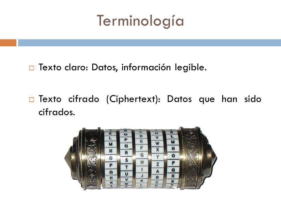 Terminología Texto claro: Datos, información legible. Texto cifrado (Ciphertext): Datos que han sido cifrados.