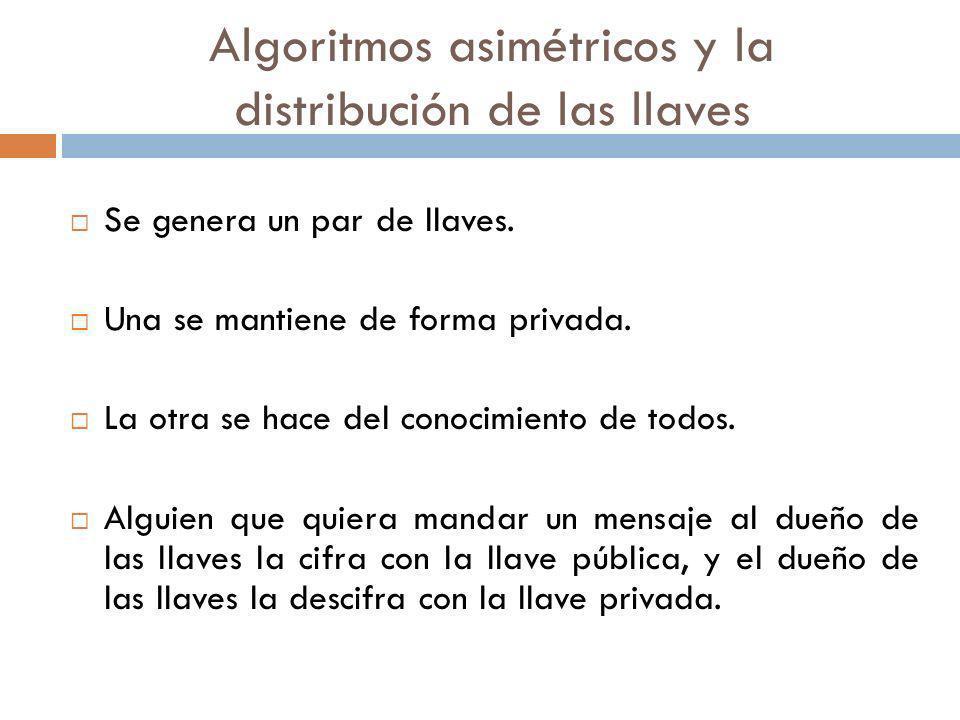 Algoritmos asimétricos y la distribución de las llaves Se genera un par de llaves. Una se mantiene de forma privada. La otra se hace del conocimiento
