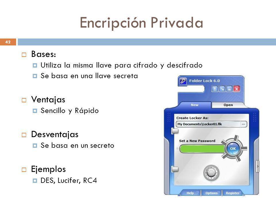 Encripción Privada 42 Bases: Utiliza la misma llave para cifrado y descifrado Se basa en una llave secreta Ventajas Sencillo y Rápido Desventajas Se b