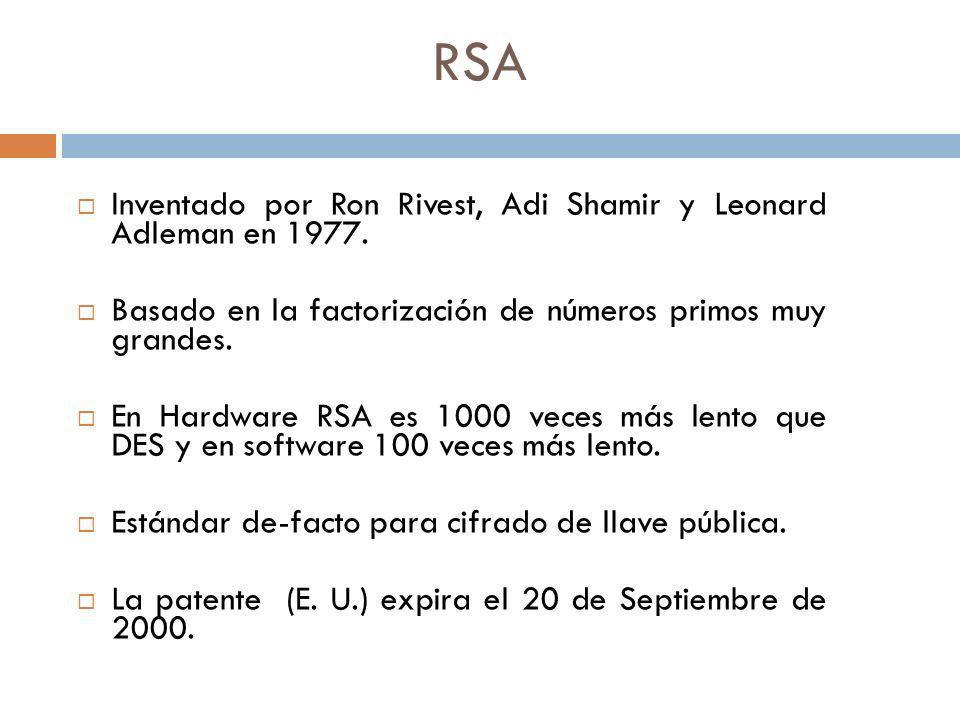 RSA Inventado por Ron Rivest, Adi Shamir y Leonard Adleman en 1977. Basado en la factorización de números primos muy grandes. En Hardware RSA es 1000