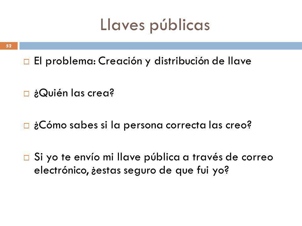 Llaves públicas 52 El problema: Creación y distribución de llave ¿Quién las crea? ¿Cómo sabes si la persona correcta las creo? Si yo te envío mi llave
