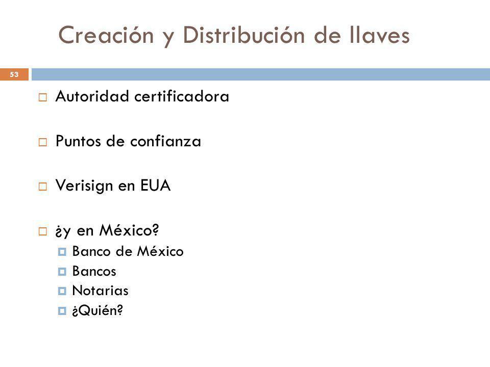Creación y Distribución de llaves 53 Autoridad certificadora Puntos de confianza Verisign en EUA ¿y en México? Banco de México Bancos Notarias ¿Quién?