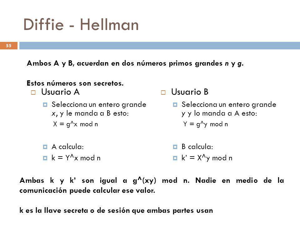 Diffie - Hellman Usuario A Selecciona un entero grande x, y le manda a B esto: X = g^x mod n A calcula: k = Y^x mod n Usuario B Selecciona un entero g