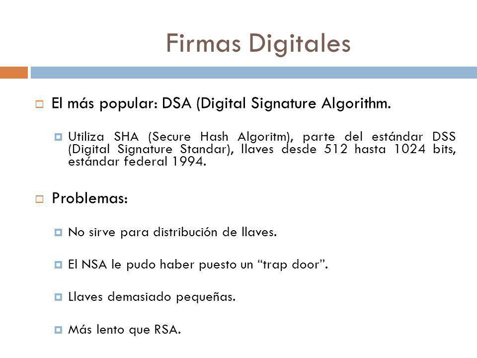 Firmas Digitales El más popular: DSA (Digital Signature Algorithm. Utiliza SHA (Secure Hash Algoritm), parte del estándar DSS (Digital Signature Stand