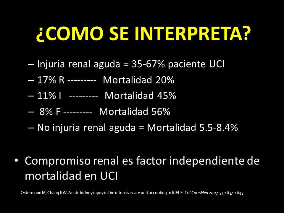 ¿COMO SE INTERPRETA? – Injuria renal aguda = 35-67% paciente UCI – 17% R --------- Mortalidad 20% – 11% I --------- Mortalidad 45% – 8% F --------- Mo