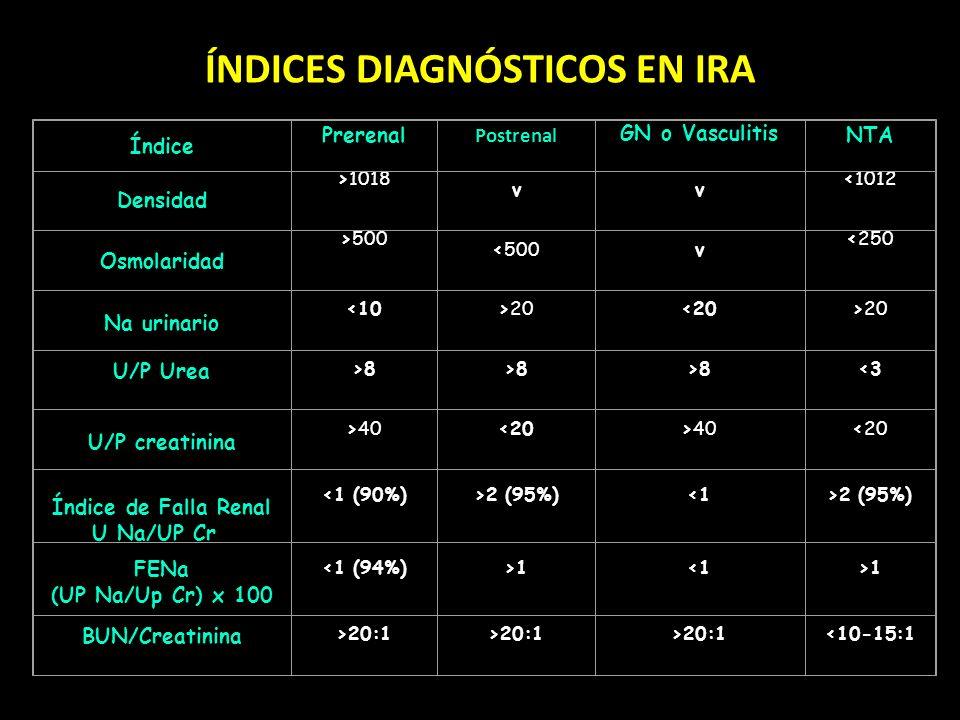 ÍNDICES DIAGNÓSTICOS EN IRA Índice Prerenal Postrenal GN o Vasculitis NTA Densidad >1018 vv <1012 Osmolaridad >500 <500v <250 Na urinario <10>20<20>20