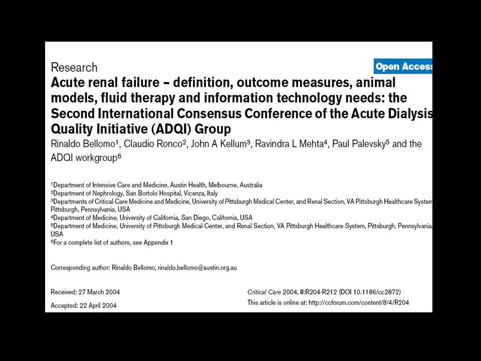 RIFLE Bellomo R, Ronco C, Kellum JA, et al.