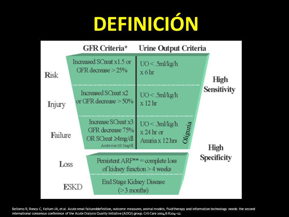 DEFINICIÓN Bellomo R, Ronco C, Kellum JA, et al.