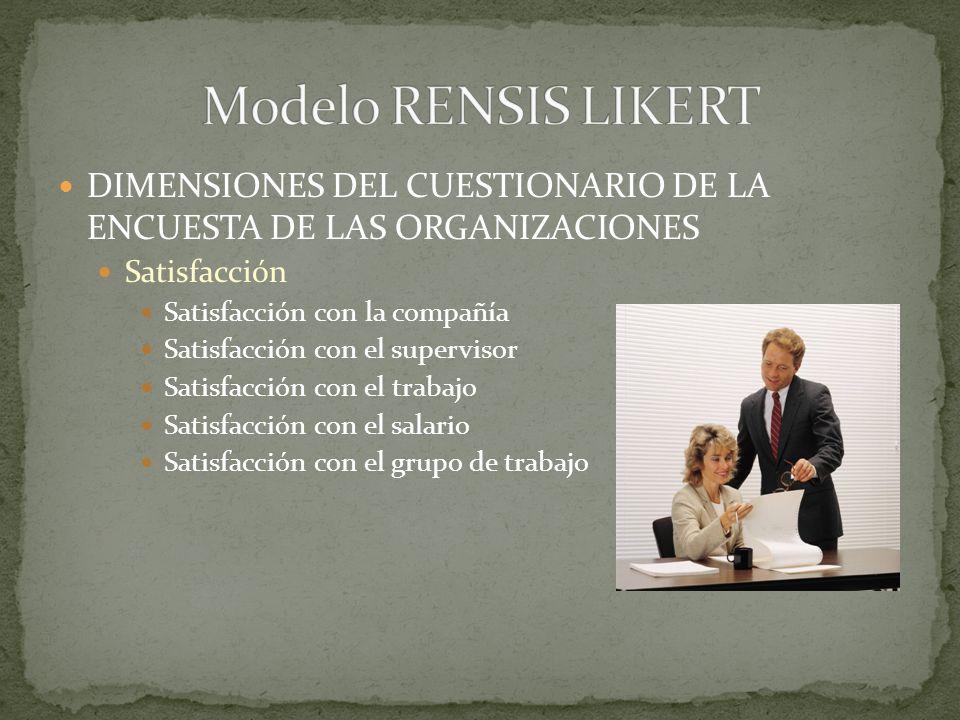 DIMENSIONES DEL CUESTIONARIO DE LA ENCUESTA DE LAS ORGANIZACIONES Ambiente en la organización Comunicación en la compañía Motivación Toma de decisione