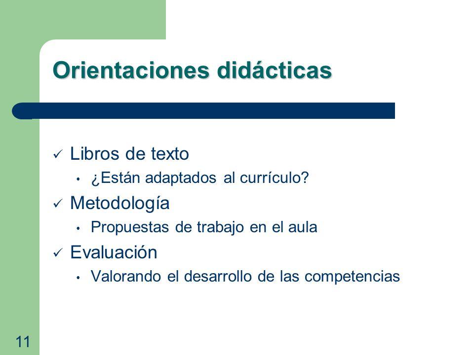 Orientaciones didácticas Libros de texto ¿Están adaptados al currículo? Metodología Propuestas de trabajo en el aula Evaluación Valorando el desarroll