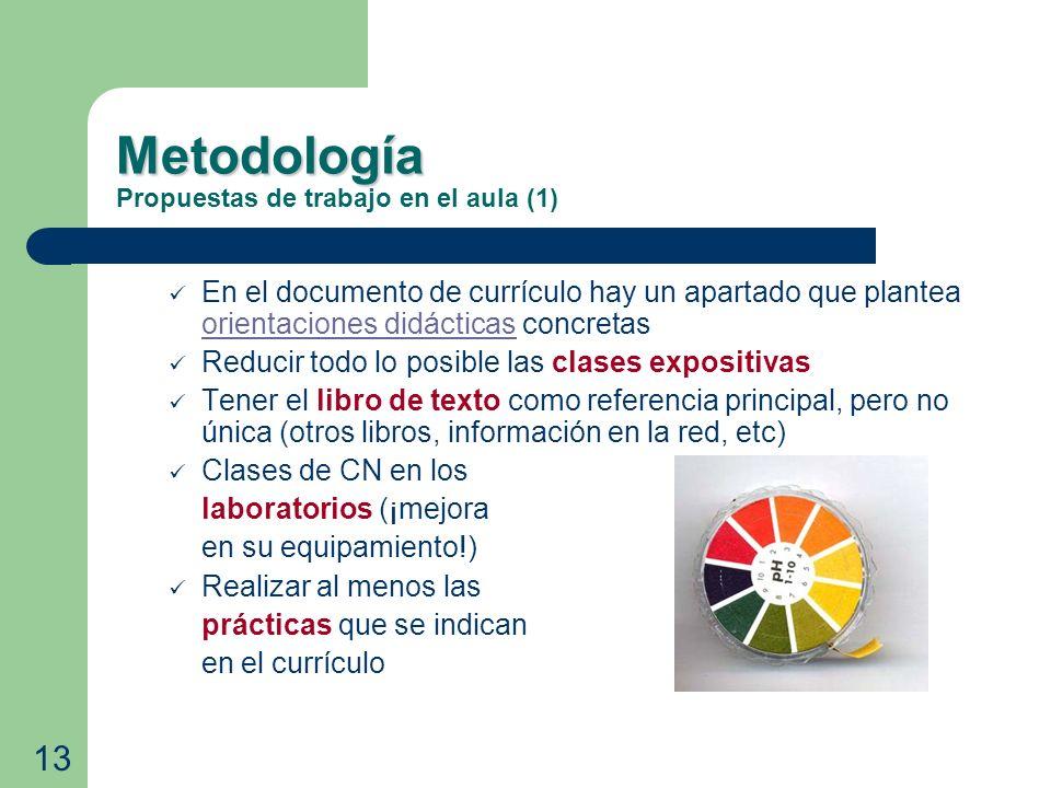 Metodología Metodología Propuestas de trabajo en el aula (1) En el documento de currículo hay un apartado que plantea orientaciones didácticas concret
