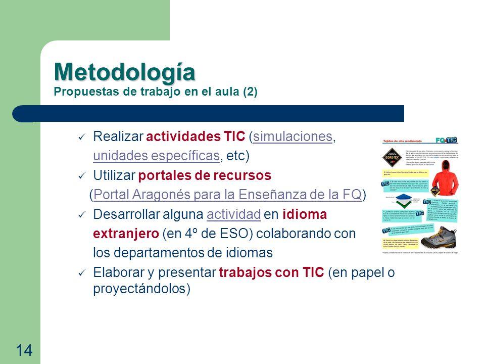 Metodología Metodología Propuestas de trabajo en el aula (2) Realizar actividades TIC (simulaciones,simulaciones unidades específicas, etc)unidades es