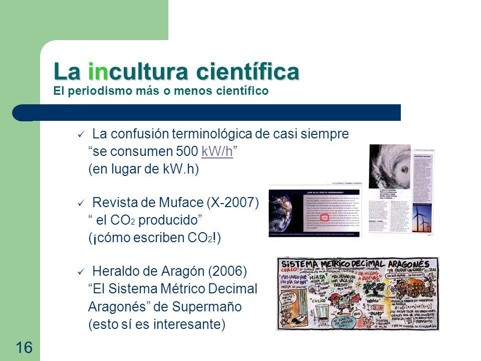 La incultura científica La incultura científica El periodismo más o menos científico La confusión terminológica de casi siempre se consumen 500 kW/hkW