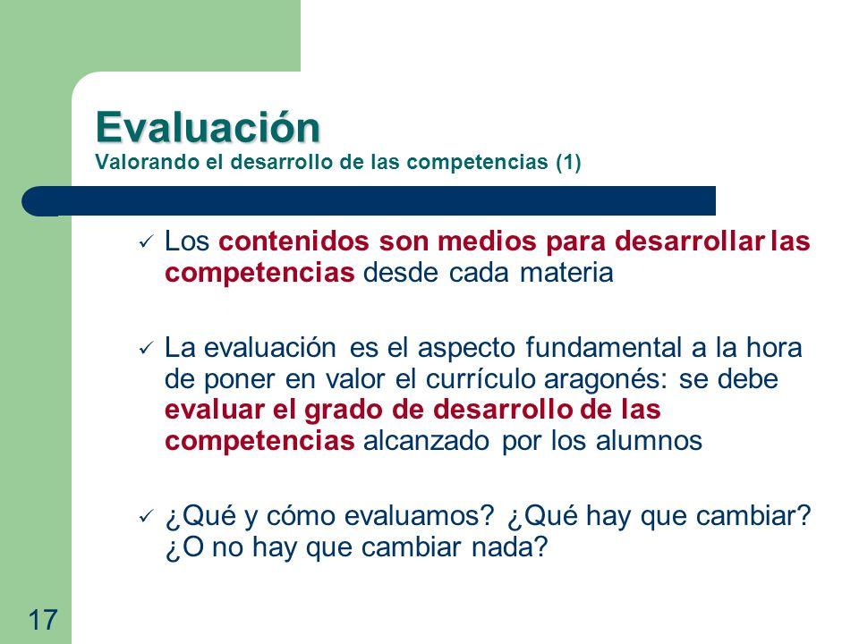 Evaluación Evaluación Valorando el desarrollo de las competencias (1) Los contenidos son medios para desarrollar las competencias desde cada materia L