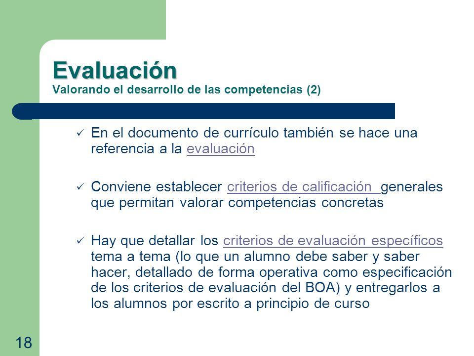 Evaluación Evaluación Valorando el desarrollo de las competencias (2) En el documento de currículo también se hace una referencia a la evaluaciónevalu