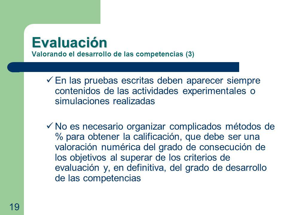 Evaluación Evaluación Valorando el desarrollo de las competencias (3) En las pruebas escritas deben aparecer siempre contenidos de las actividades exp