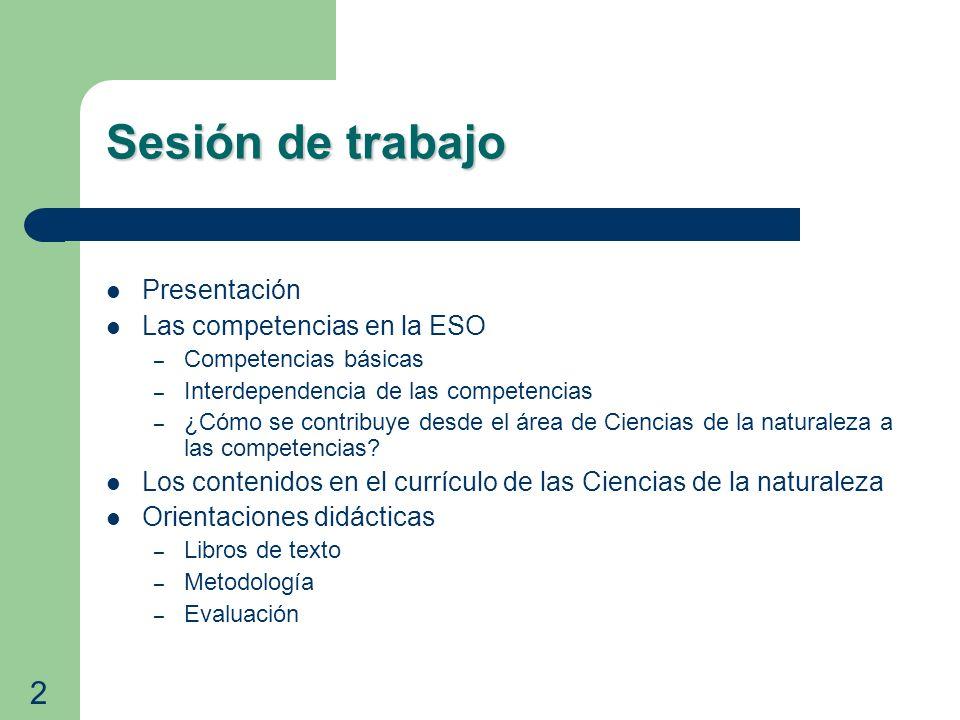 Presentación Las competencias en la ESO – Competencias básicas – Interdependencia de las competencias – ¿Cómo se contribuye desde el área de Ciencias