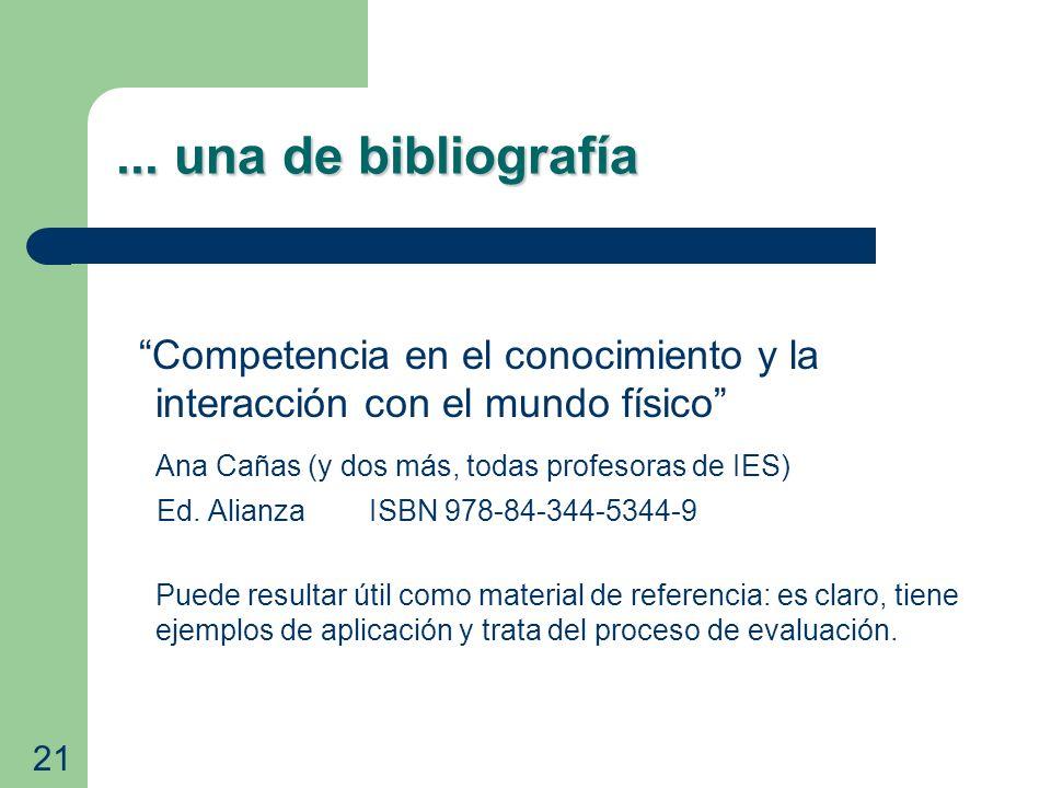 ... una de bibliografía Competencia en el conocimiento y la interacción con el mundo físico Ana Cañas (y dos más, todas profesoras de IES) Ed. Alianza