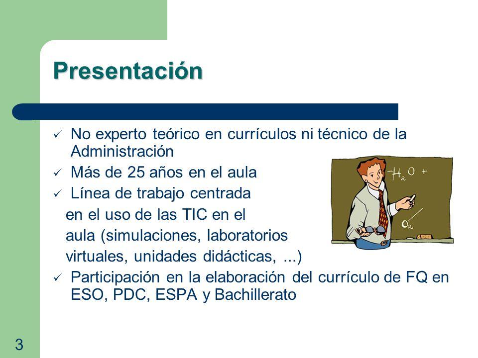 Metodología Metodología Propuestas de trabajo en el aula (2) Realizar actividades TIC (simulaciones,simulaciones unidades específicas, etc)unidades específicas Utilizar portales de recursos (Portal Aragonés para la Enseñanza de la FQ)Portal Aragonés para la Enseñanza de la FQ Desarrollar alguna actividad en idiomaactividad extranjero (en 4º de ESO) colaborando con los departamentos de idiomas Elaborar y presentar trabajos con TIC (en papel o proyectándolos) 14