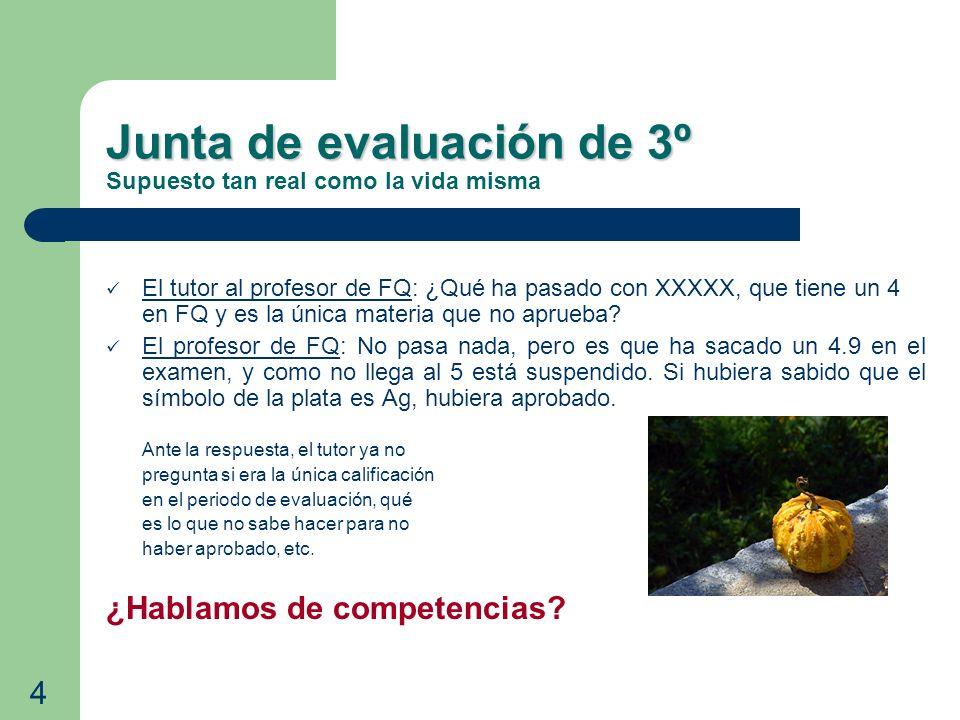 Junta de evaluación de 3º Junta de evaluación de 3º Supuesto tan real como la vida misma El tutor al profesor de FQ: ¿Qué ha pasado con XXXXX, que tie