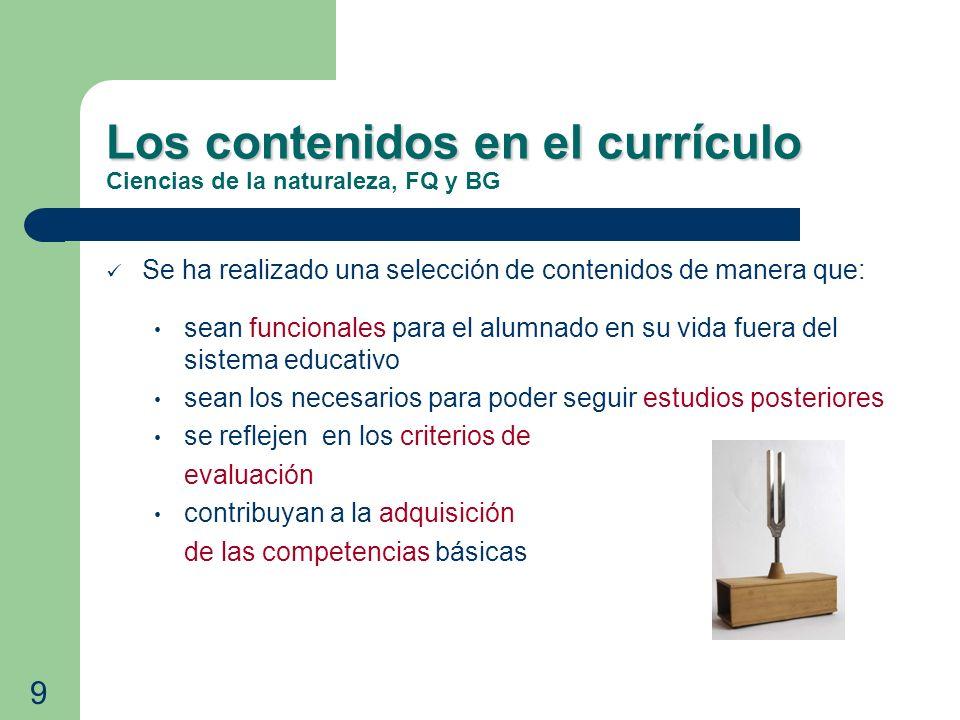 Los contenidos en el currículo Los contenidos en el currículo Ciencias de la naturaleza, FQ y BG Se ha realizado una selección de contenidos de manera